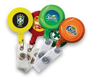 25un Roller Clip Porta Crachá Retrátil Tipo Iôiô Com Sua Logomarca Personalizado