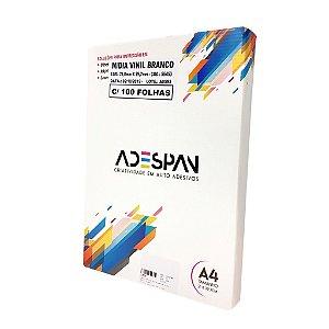 Vinil para Impressão Jato de Tinta Branco Brilho 100 Folhas A4 210x297 Adespam