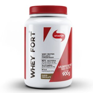 WHEY FORT 900G VITAFOR - BAUNILHA, CHOCOLATE.
