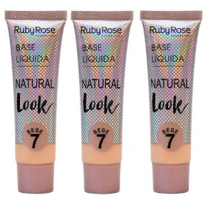 KIT 3 BASE LÍQUIDA NATURAL LOOK BEGE 7 RUBY ROSE