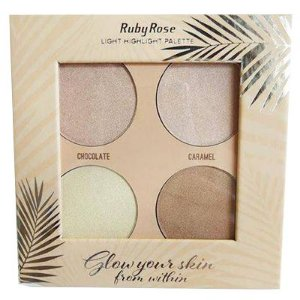 PALETA ILUMINADOR GLOW YOUR SKIN LIGHT RUBY ROSE HB-7500/L