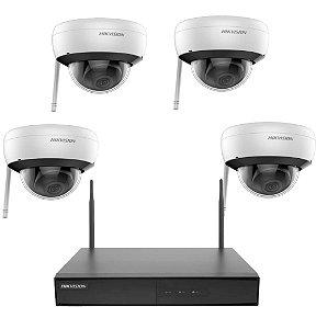 Kit Hikvision Wi-fi Ip 4 Câmeras Dome 1 Nvr NK4W1 e Hd 1tb