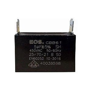 CAPACITOR 5 MFD 450V C/ 2 TERMINAIS 47 X 17.5 X 33 CAIXA EOS