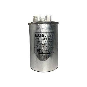 CAPACITOR DUPLO 30+1.5 MFD 440V C/TERMINAL 50X80 ALUMINIO EOS