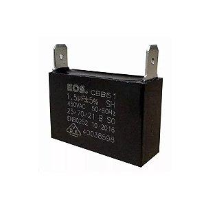 CAPACITOR 1.5 MFD 450V  C/ 2 TERMINAIS 37 X 11 X 25 CAIXA EOS