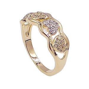 Anel Folheado Dourado - Corações com Zirconia - A22498.425