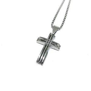 Colar aço Premium Crucifixo Future Silver