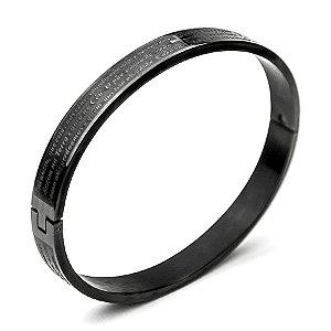 Pulseira aço Premium Pai Nosso Black [pulso médio MASCULINO]