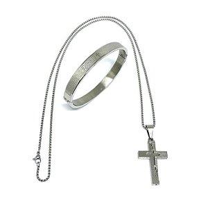 Kit 2 em 1 Colar em aço Life Silver & Bracelete Pai Nosso