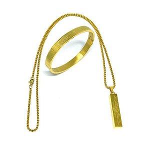 kit 2 em 1 Colar aço Premium Oração Pai Nosso Minimalista & Bracelete Pai Nosso