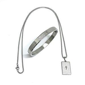 KIT 2 em 1 Colar aço Premium Oração Pai Nosso & Bracelete Pai Nosso