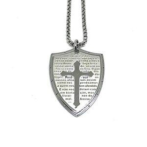 Colar aço Premium Escudo Medieval Oração Pai Nosso [série limitada]