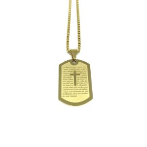 Colar Placa Oração do Pai Nosso Minimalista [aço Premium]