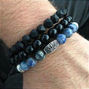 Pulseiras Kit 3 em 1 Pedra Lápis Lazuli & Murano Italiano Facetado