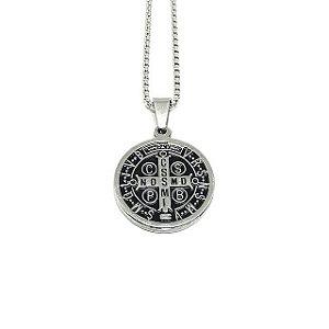 Colar Medalha de São Bento Baixo Relevo [aço Premium]