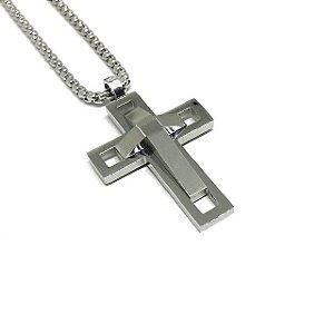 Colar Cross Future Silver [aço Premium nobre]