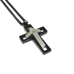 Colar Cross Future Black & Silver [aço Premium nobre]