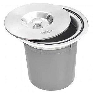 Lixeira com tampa e inox e balde plástico de 5 litros - Tramontina