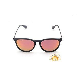 Óculos de Sol Erika Preto Fosco Lente Espelhada Vermelha Afrikan