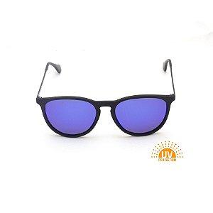 Óculos de Sol Erika Preto Lente Espelhada Azul Royal Afrikan