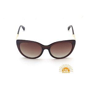 Óculos de Sol Oval Marrom Lente Marrom Degradê Polarizado Afrikan