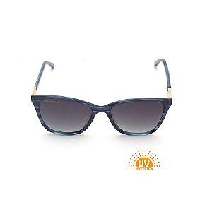 Óculos de Sol Retangular Azul Estampado Lente Cinza Polarizada Afrikan