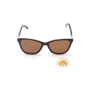 Óculos de Sol Retangular Marrom Lente Marrom Polarizada Afrikan