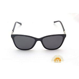 Óculos de Sol Retangular Preto Verniz Lente Black Total Polarizada Afrikan