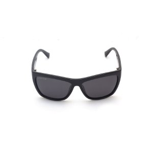 Óculos de Sol Retangular Curvado Preto Verniz Lente Black Total Afrikan