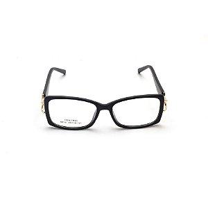 Armação para Óculos de Grau Retangular Preto Verniz Afrikan