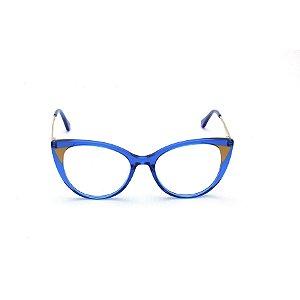 Armação para Óculos de Grau Gatinho Acrílico Azul  Afrikan
