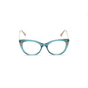Armação para Óculos de Grau Gatinho Acrílico Verde Afrikan