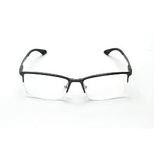 Armação para Óculos de Grau Retangular Curvado Metal Chumbo Afrikan