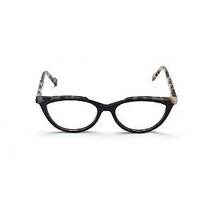 Armação para Óculos de Grau Gatinho Preto com detalhe Estampado