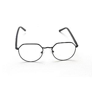 Armação para Óculos de Grau Hexagonal Metal Preto Afrikan