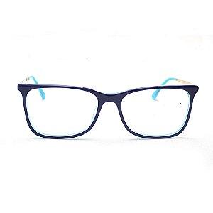 Armação para Óculos de Grau Retangular Azul Marinho e Tiffany Andressa