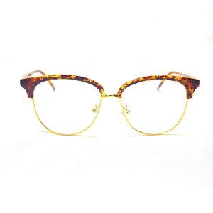 Armação para Óculos de Grau Feminino Redondo Marrom e Dourado Giovana