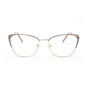 Armação para Óculos de Grau Gatinho Metal Nude