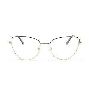 Armação para Óculos de Grau Gatinho Preto e Dourado Estilo Valentino