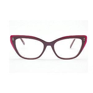 Armação para Óculos de Grau Gatinho Vermelho Escuro