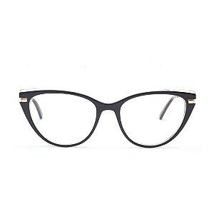 Armação para Óculos de Grau Gatinho Acrílico Preto