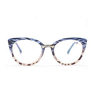 Armação para Óculos de Grau Feminino Estampa Azul e Marrom