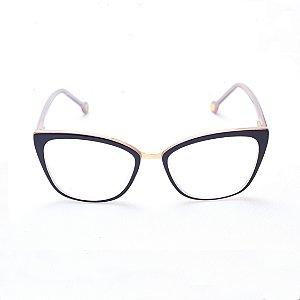Armação para Óculos de Grau Feminino Gatinho Preto com Lilás