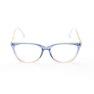 Armação para Óculos de Grau Feminino Gatinho Azul Degradê com Nude