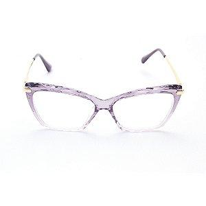 Armação para Óculos de Grau Gatinho Cristal Lilás Degradê