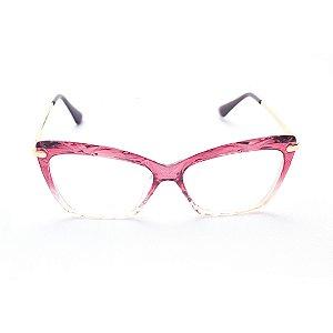 Armação para Óculos de Grau Gatinho Cristal Bordô Degradê