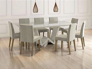 Mesa de Jantar com 8 Cadeiras Off White