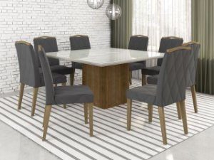 Mesa de Jantar quadrada com 8 cadeiras