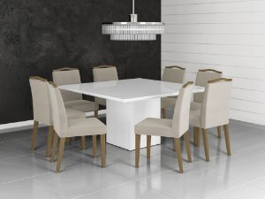 Mesa de Jantar Quadrada com 8 Cadeiras Laca Branca