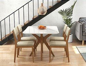 Mesa sd02-turim pelin 1,20x0,90 com 4 cadeiras turim encosto estofado